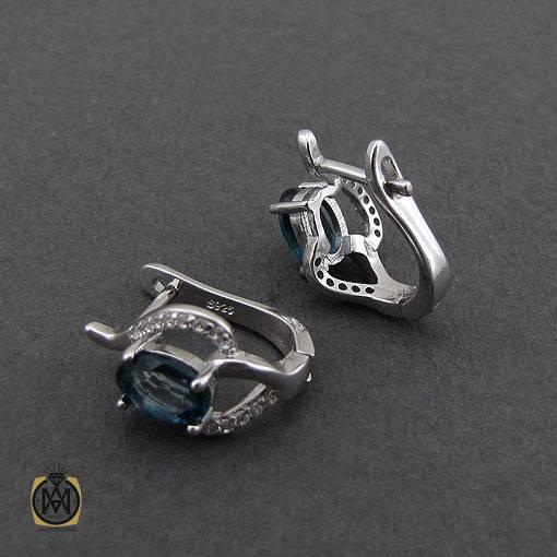 سرویس توپاز لندن زنانه خوش رنگ و معدنی طرح الیسا - کد 7024 - گوشواره جواهر دجواهربازار نقره