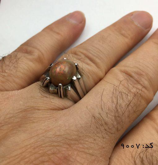 انگشتر اپال خوش رنگ مردانه دست ساز - کد 8007 - IMG E7067 510x534
