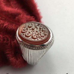 انگشتر عقیق یمن سفید با حکاکی هو الحی القیوم هنر استاد حیدر مردانه - کد 8003 - IMG E7427 247x247