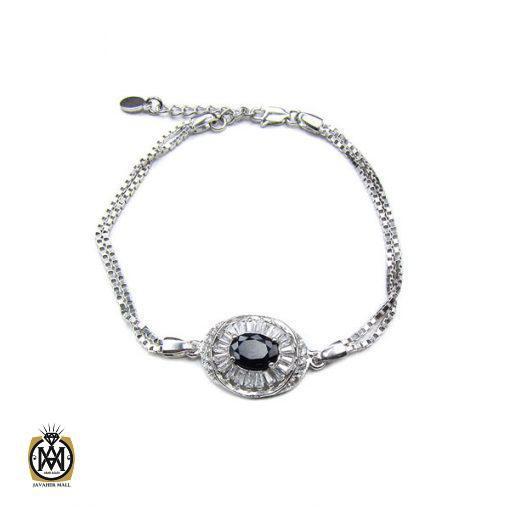 دستبند یاقوت کبود زنانه اصل و معدنی طرح نیلوفر – کد ۱۰۱۱