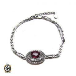 دستبند نقره یاقوت سرخ زنانه – کد 1017