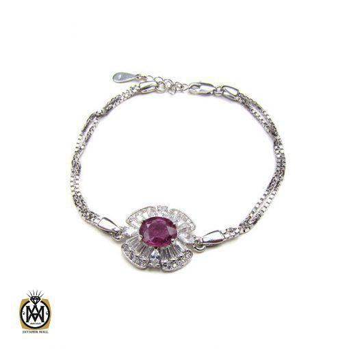 دستبند نقره یاقوت سرخ زنانه – کد ۱۰۲۳