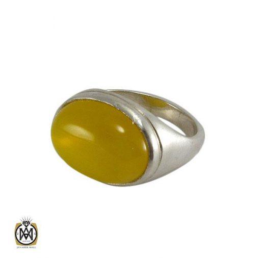 انگشتر عقیق زرد حکاکی شرف الشمس مردانه – کد ۸۰۵۵