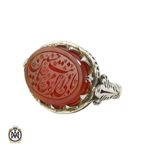 انگشتر عقیق یمن مردانه با حکاکی بابی انت و امی یا حسین – کد ۸۰۸۰