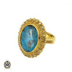 انگشتر فیروزه نیشابور و الماس اصل زنانه طرح دلدار - کد 2068 - 1 370 247x247