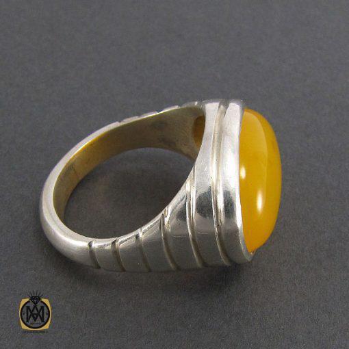 انگشتر عقیق زرد حکاکی شرف الشمس مردانه - کد 8057 - 2 185 510x510