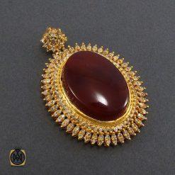 مدال عقیق یمن و الماس اصل زنانه طرح جانان - کد 3004 - 2 362 247x247