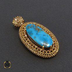 مدال فیروزه نیشابور و الماس اصل زنانه طرح آوا - کد 3005 - 2 363 247x247