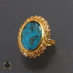 انگشتر فیروزه نیشابور و الماس اصل زنانه طرح دلدار - کد 2068 - 2 364 247x247