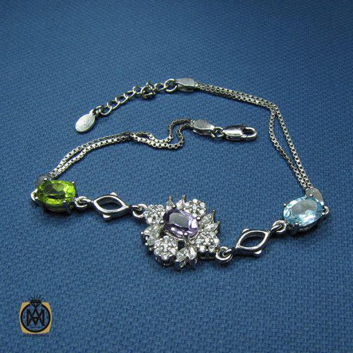 دستبند نقره آمتیست، زبرجد و توپاز زنانه – کد ۱۰۰۱