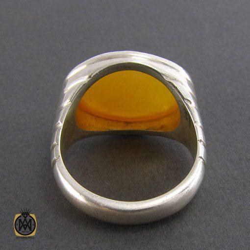 انگشتر عقیق زرد حکاکی شرف الشمس مردانه - کد 8057 - 3 188 510x510