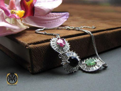 دستبند نقره یاقوت و زمرد زنانه اصل و مرغوب طرح عسل – کد ۱۰۱۴