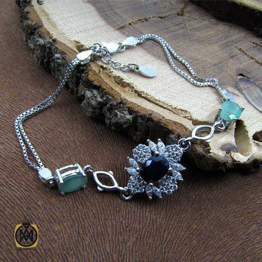دستبند یاقوت کبود و زمرد زنانه طرح یاسمن – کد ۱۰۰۲