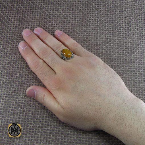 انگشتر کهربا بولونی لهسان اصل و معدنی مردانه - کد 8054 - 5 182 510x510