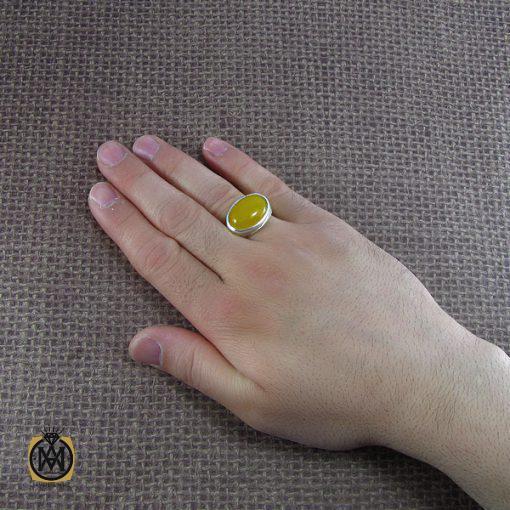 انگشتر عقیق زرد حکاکی شرف الشمس مردانه - کد 8057 - 5 185 510x510