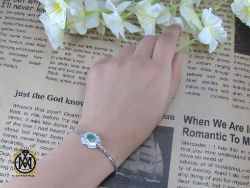 دستبند نقره زمرد زنانه – کد ۱۰۱۵