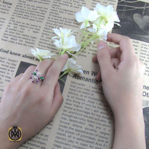انگشتر تورمالین، کوارتز و صدف طرح ترنم زنانه -کد ۲۰۲۲