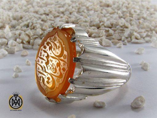 انگشتر عقیق یمن با حکاکی رفع الله رایة العباس - کد 8294 - 00 73 510x383