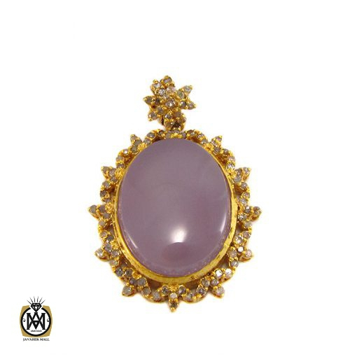 مدال عقیق یمن کبود و الماس اصل زنانه طرح پوران - کد 3009