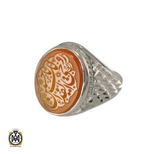 انگشتر عقیق یمن مردانه با حکاکی روحی لک الفدا حسین - کد 8275