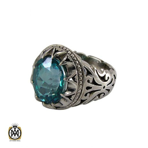 انگشتر نقره مردانه با نگین توپاز - کد 8182 - 1 21 510x510