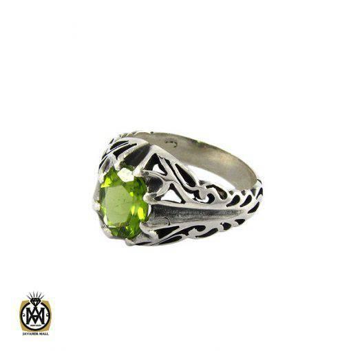 انگشتر نقره مردانه با نگین زبرجد - کد 8172 - 1 22 510x510