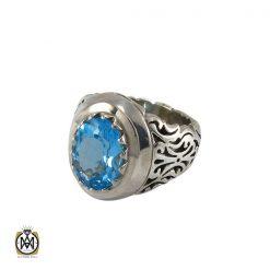 انگشتر توپاز آبی مردانه دست ساز و مرغوب - کد 8173