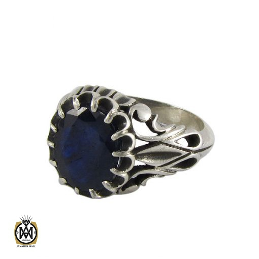 انگشتر نقره مردانه با نگین یاقوت کبود - کد 8179 - 1 29 510x510