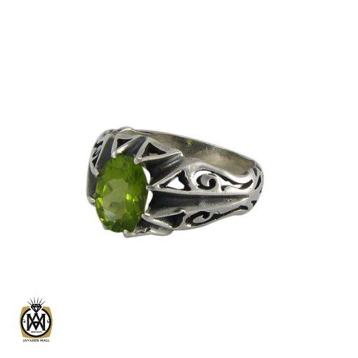 انگشتر نقره مردانه با نگین زبرجد - کد 8180 - 1 30 510x510