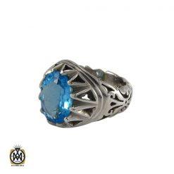 انگشتر توپاز آبی مردانه خوش رنگ و مرغوب - کد 8187