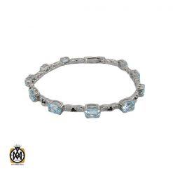 دستبند آکوامارین زنانه طرح پارميس - کد 1038