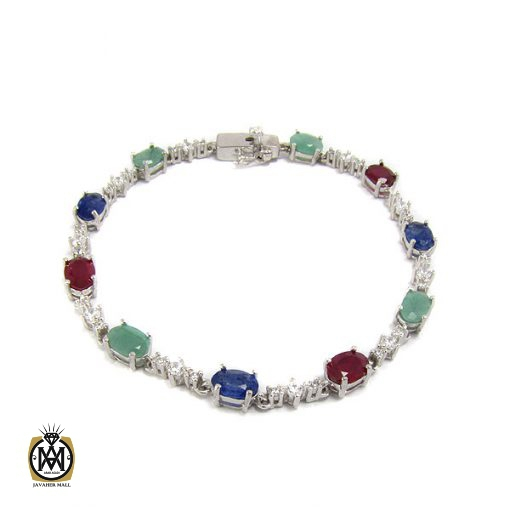 دستبند یاقوت و زمرد زنانه طرح شایسته – کد ۱۰۳۶