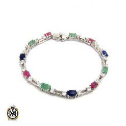 دستبند یاقوت و زمرد زنانه طرح جوانه - کد 1065