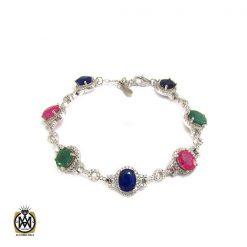 دستبند نقره یاقوت و زمرد زنانه – کد 1025 - 1 64 247x247