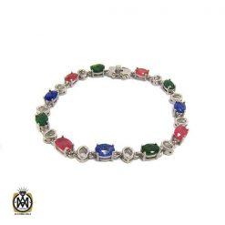 دستبند نقره یاقوت و زمرد زنانه – کد ۱۰۲۲