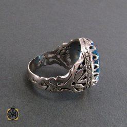 انگشتر نقره مردانه با نگین توپاز آبی مرغوب - کد 8181