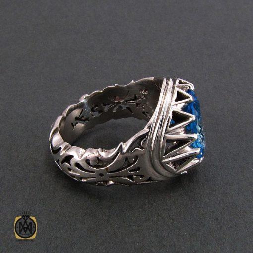 انگشتر توپاز آبی مردانه خوش رنگ و مرغوب - کد 8187 - 2 36 510x510
