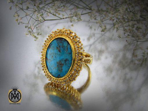 انگشتر فیروزه نیشابور و الماس اصل زنانه طرح دلدار – کد ۲۰۶۸