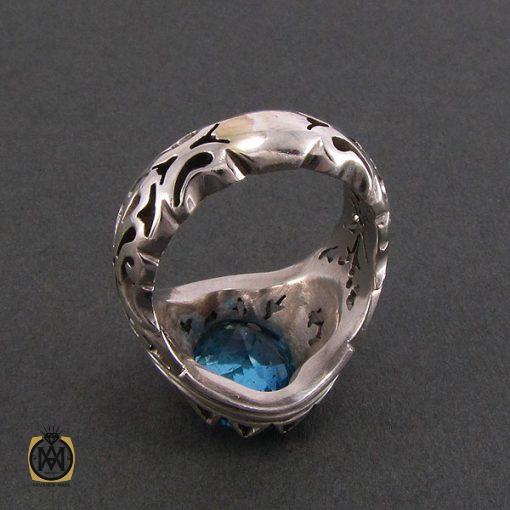 انگشتر توپاز آبی مردانه خوش رنگ و مرغوب - کد 8187 - 3 36 510x510
