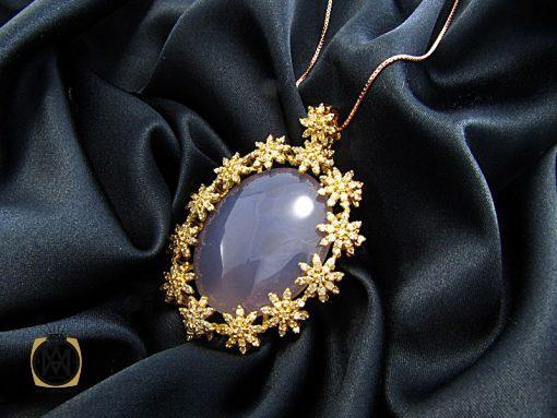 مدال عقیق یمن کبود و الماس اصل زنانه طرح رکسانا - کد 3001