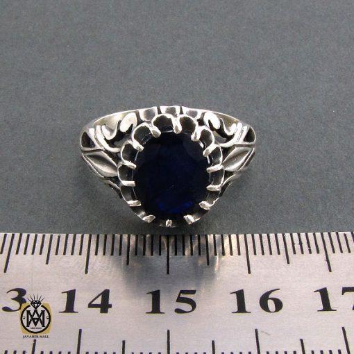 انگشتر نقره مردانه با نگین یاقوت کبود - کد 8179 - 4 29 510x510