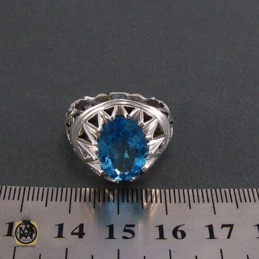 انگشتر توپاز آبی مردانه خوش رنگ و مرغوب - کد 8187 - 4 37 510x510
