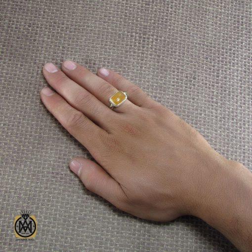 انگشتر عقیق یمن مردانه با حکاکی شرف الشمس استاد ضابطی- کد ۸۲۴۳