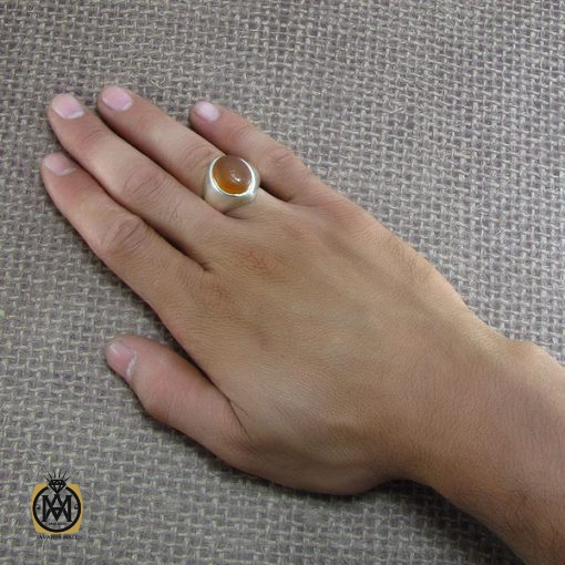 انگشتر عقیق یمن مردانه با حکاکی شرف الشمس استاد ضابطی - کد 8239 - 5 127 510x510