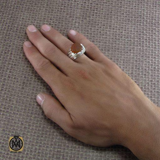 انگشتر عقیق یمن مردانه با حکاکی یا ابوفاضل مددی - کد 8282 - 5 169 510x510