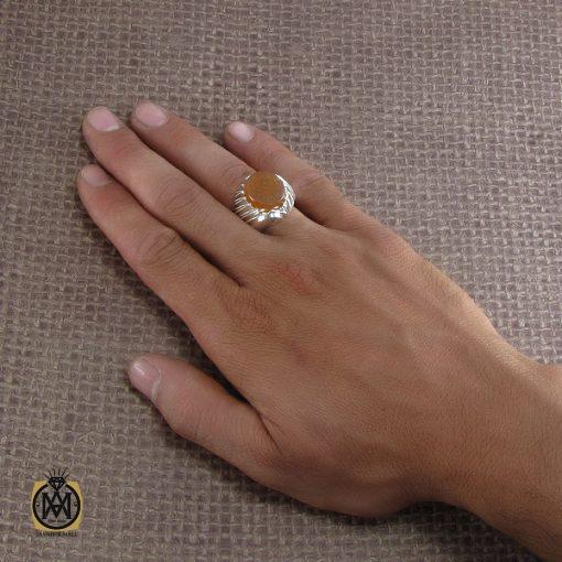 انگشتر عقیق یمن مردانه با حکاکی امن المتوکلون - کد 8288 - 5 175 510x510