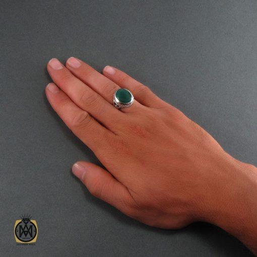 انگشتر عقیق سبز مردانه اصل و خوش رنگ - کد 8313 - 5 197 510x510