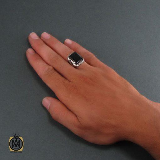 انگشتر عقیق سیاه مردانه اصل و معدنی - کد 8324 - 5 207 510x510