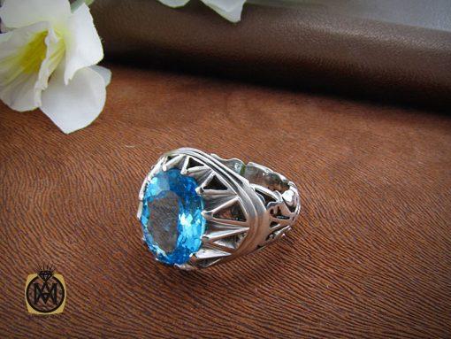 انگشتر توپاز آبی مردانه خوش رنگ و مرغوب - کد 8187 - 5 22 510x383