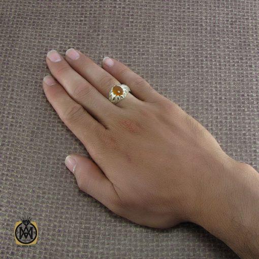 انگشتر عقیق یمن مردانه با حکاکی شرف الشمس – کد ۸۲۲۳